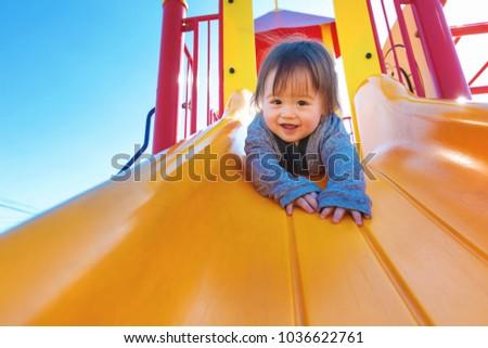 mixed race toddler boy playing...