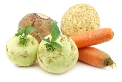 mixed rootvegetables on a white background