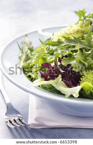 Mixed salad leaves in a pastel-blue bowl, with white napkin and salad fork.