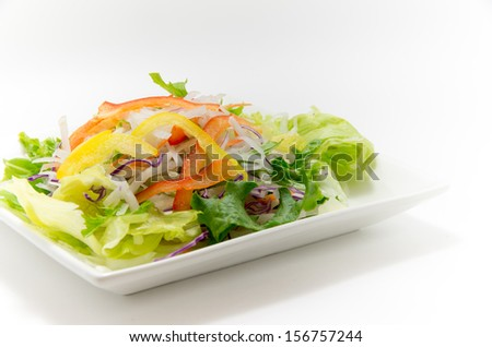 Mixed salad of radish and lettuce and paprika #156757244