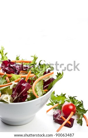 mixed salad on a bowl - withe background