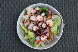 mixed salad topped with slices of marinated octopus tentacles and a spicy dressing