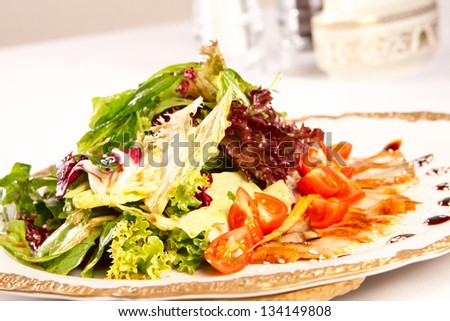 Mixed salad with eel - stock photo