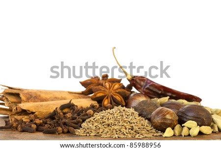 Mixed Spices on White Background