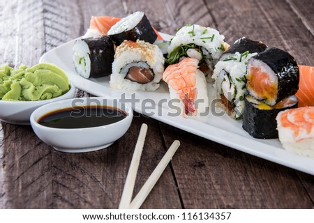 Mixed Sushi on a plate with Soy Sauce