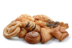 Mixed sweet and salted pastry, patisserie, bakery products on white background
