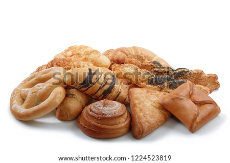 Photo of Mixed sweet and salted pastry, patisserie, bakery products on white background