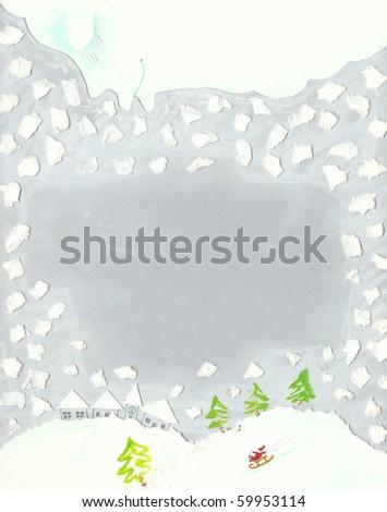 Mixed technique illustration of winter scene - stock photo