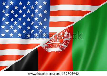 Mixed USA and Afghanistan flag, three dimensional render, illustration - stock photo