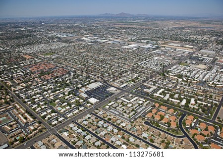 Mixed use sprawl of southwest Mesa, Arizona from above