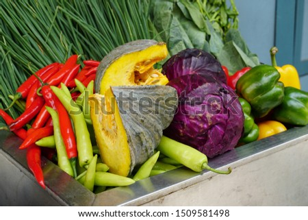 Mixed vegetable, Vegetable are many colors in this image, Vegetables in the cabbage
