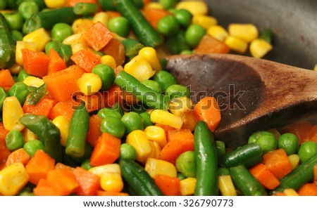 Mixed vegetables cooking together in a skillet #326790773