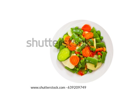 Mixed vegetables on a plate. top view. isolated on white #639209749