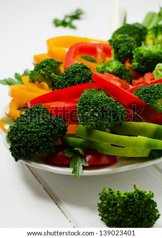 Mixed vegetables with paprika and broccoli on a plate