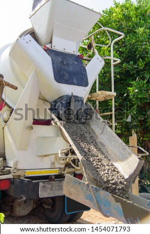 Mixing and pour cement by cement truck #1454071793