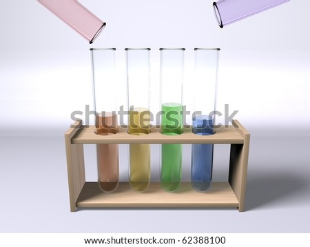 Mixing chemicals in multi colour test tubes