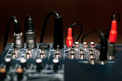 Mixing Console and Plugs . Professional Sound Input Mixer
