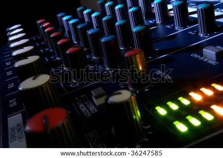 Mixing console in dark. Element of design.