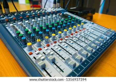 Mixing console sound engineer. Digital mixing console. Sound equipment. Audio equipment. Sound recording.