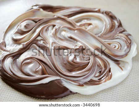 mixing melted white chocolate with milk chocolate