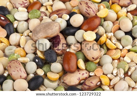Mixture of beans and pulses in abundance
