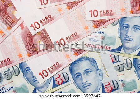 Picture Singapore Money on Mixture Of Euro And Singapore Currency Notes Stock Photo 3597647