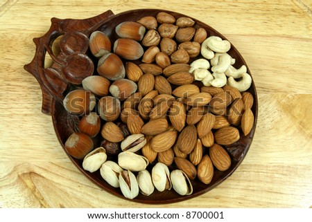 Mixture of nuts and almonds. Christmas cuisine.