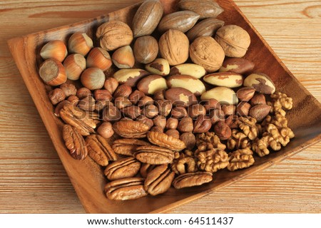 Mixture of nuts in wooden bowl. Christmas cuisine.