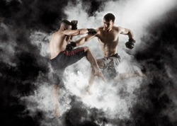MMA boxers fighters fight in fights without rules in the ring octagons