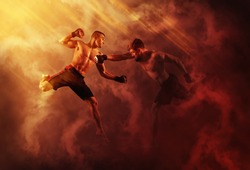 MMA boxers fighters fight in fights without rules.  Red smoke background