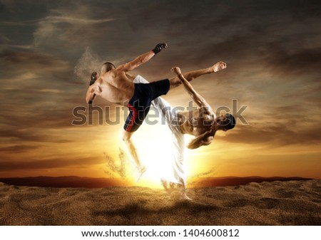 MMA boxers fighters fight in fights without rules.  Sunset background