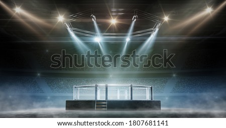MMA cage night. Fighting Championship. Fight night. 3D render MMA arena. View of the arena by spotlights. Full tribune. Sport Photo stock ©