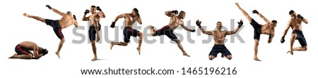 MMA collage. Martial arts fighter (MMA) isolated on white background Stock photo ©
