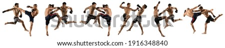 MMA collage.  Mixed martial arts fighter (MMA) isolated on white background Stock photo ©