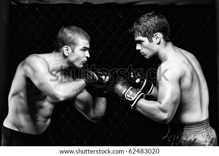 MMA - Mixed martial artists before a fight - stock photo