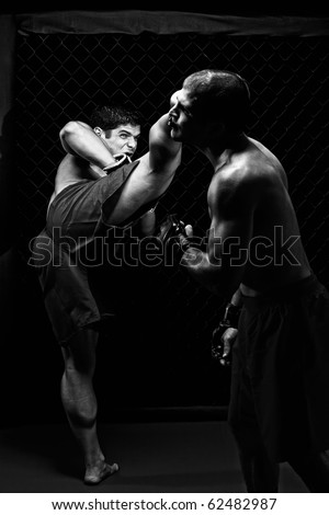 MMA - Mixed martial artists fighting - kicking