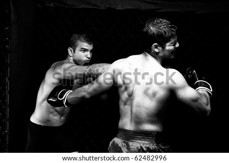 MMA - Mixed martial artists fighting - punching
