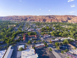 Moab city center and historic buildings aerial view in summer, Utah, USA.