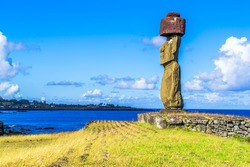 Moai at Ahu Ko Te Riku in Tahat Archaeological Complex Easter Island, Chile