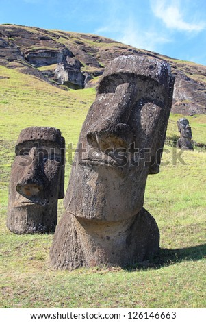 Moai at Quarry, Easter Island, Chile - stock photo