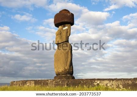 Moai in Tahai, Easter island (Chile)