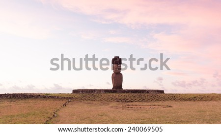 Moai in the Rapa Nui National Park during the sunset, Easter Island, Chile, South America