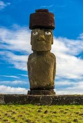 Moai monolithic human figure at Tahai ahu ceremonial platform lo