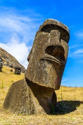 Moai, the Polynesian Stone Carving at Rano Raraku Quarry in Easter Island, Chile