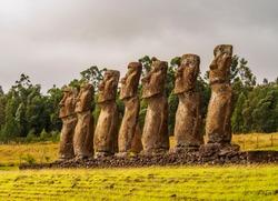 Moais in Ahu Akivi, Rapa Nui National Park, Easter Island, Chile
