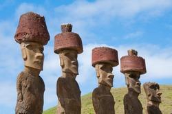 Moais near Anakena beach, Easter island (Chile)