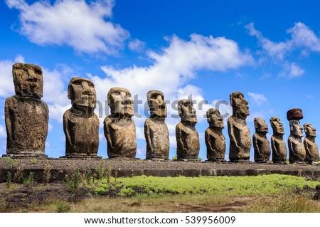 Moais of Ahu Tongariki, Easter island, Chile #539956009
