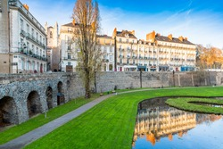 Moat and walls in the old town of Nantes, France