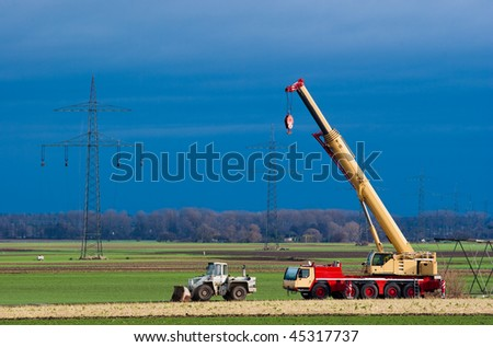 Mobil crane and transmission towers