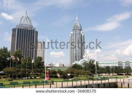 Mobile, Alabama's skyline looking northwest from the Cooper Riverside Park on the Mobile River.